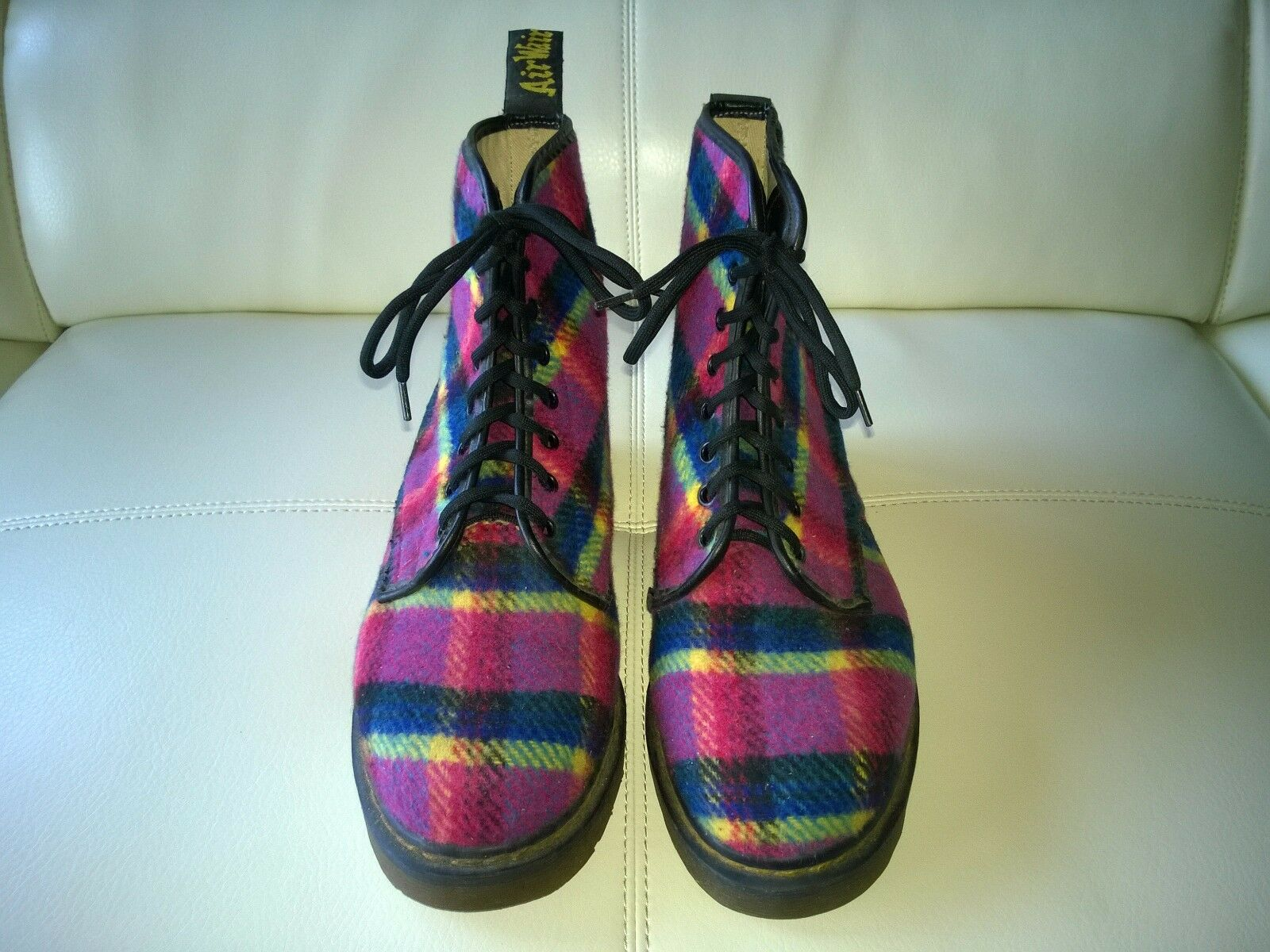 DOC DR MARTENS PURPLE PLAID FLANNEL BOOT MADE IN ENGLAND RARE VINTAGE UNISEX 6UK