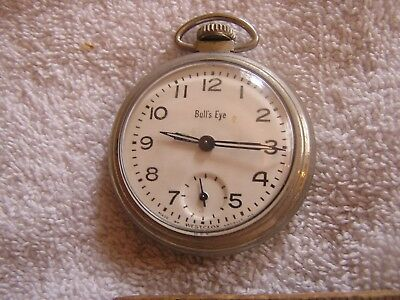 Vintage Bull's Eye Pocket Watch Waterproof Shock-Resistant And Antimagnetic Watches, Parts & Accessories
