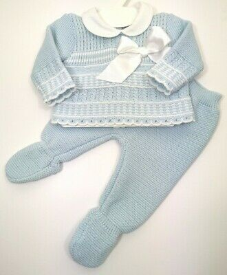 Baby Spanish Knitted Romper All in One Boys Blue White Peter Pan Collar 0-3-6 m