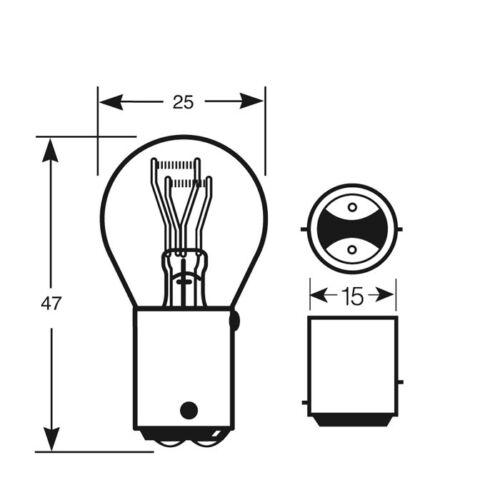 Lot de 10 Anneau Ampoules R380 12 V 21//5w OSP BAY15d frein /& Queue