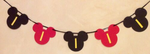 1ST BIRTHDAY MICKEY MOUSE STYLE PARTY BANNER BLACK RED /& YELLOW 5 HEADS