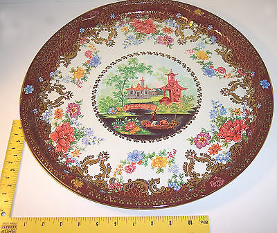 "16-1/8"" vintage ~ Made in England Tin Designed by Daher tray,dish Floral design"