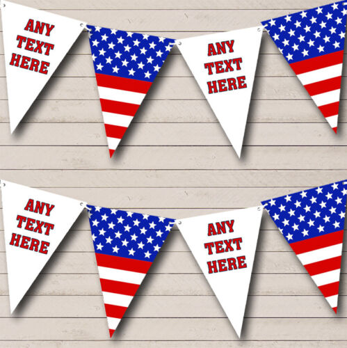 Stars Stripes American Flag USA Personalised Carnival Fete Street Party Bunting