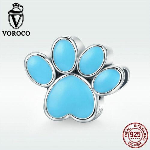 Voroco 925 Sterling Silver Charm chien bleu patte Bead Animal Empreinte pour bracelet