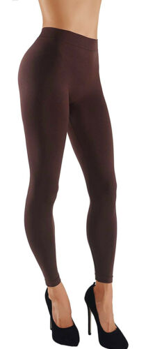 Womens Basic Seamless Solid Color Yoga Fitness Leggings W Wide Waistband Elastic