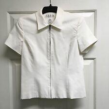 Jones New York Short Sleeve Front Zip White Lined Jacket Coat Blazer 10