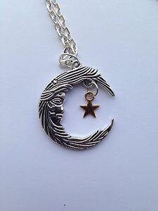 "Moon Goddess Crescent Moon Silver Pendant Necklace 18/"""