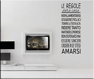 Adesivi murali regole della casa decorazioni parete wall for Adesivi muro cucina