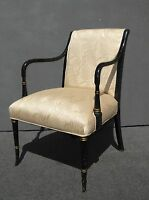 Vintage French Provincial Floral Silk Blend Black & Gold Gilt Accent Chair
