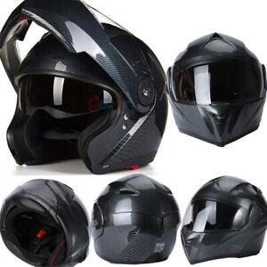 DOT-Motorcycle-Modular-Flip-up-Full-Face-Helmet-Dual-Visor-Carbon-Fiber-Headset