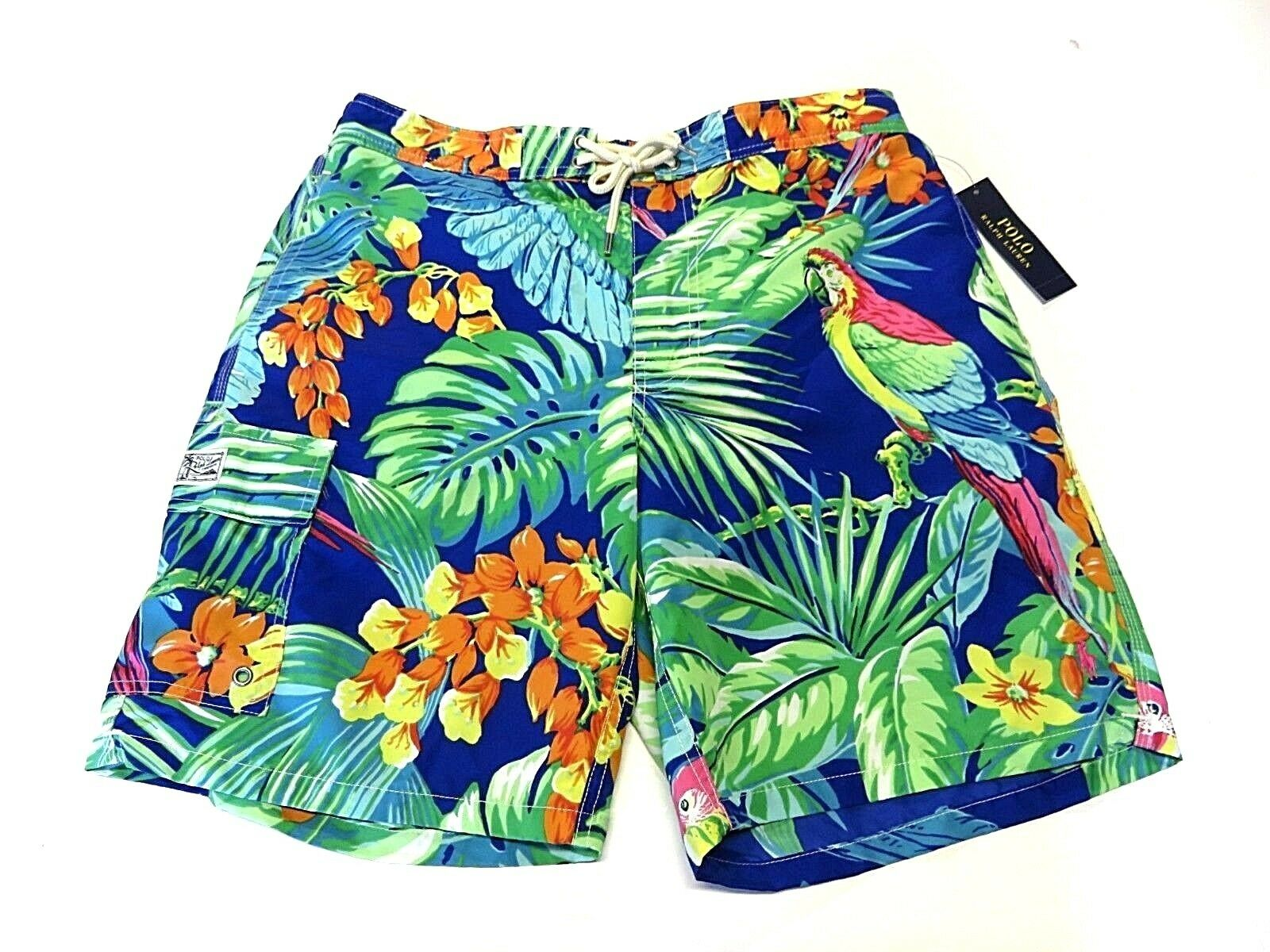 NWT Polo By Ralph Lauren Multi-colord Tropical Swim Trunks Adult Men's Size L