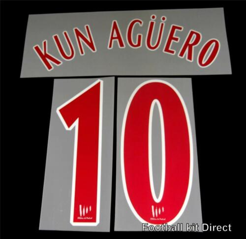 Official Atletico Madrid Kun Aguero 200506 Football Shirt NameNumber Set Away