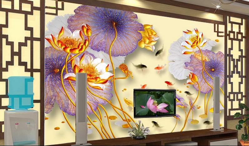 3D Mode Lotus Stil 744 Tapete Wandgemälde Tapete Tapeten Bild Familie DE Summer