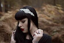 1920s Silver Rhinestone Headband Flapper Great Gatsby Vtg Headpiece Dress Q13