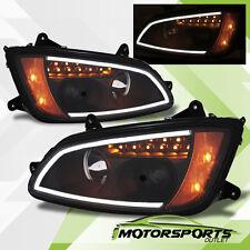 [Plank Style] 2008-2016 Kenworth T660 LED Bar Projector Black Headlights Pair