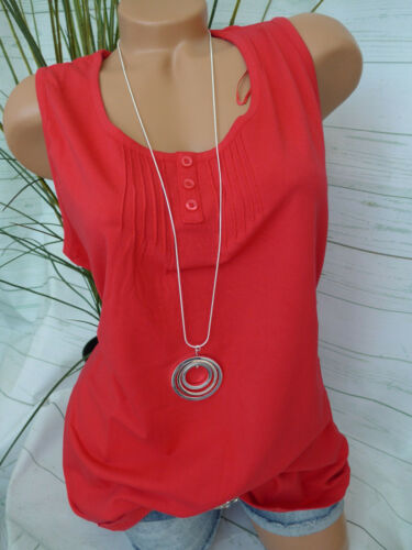 Sheego Shirt Femme Top Débardeur Taille 42-56 rouge avec nervure à boutonnage NEUF 436