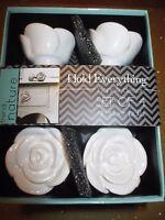 Drawer Pulls Set Of 4 Ceramic Knobs Handles White Ivory Roses