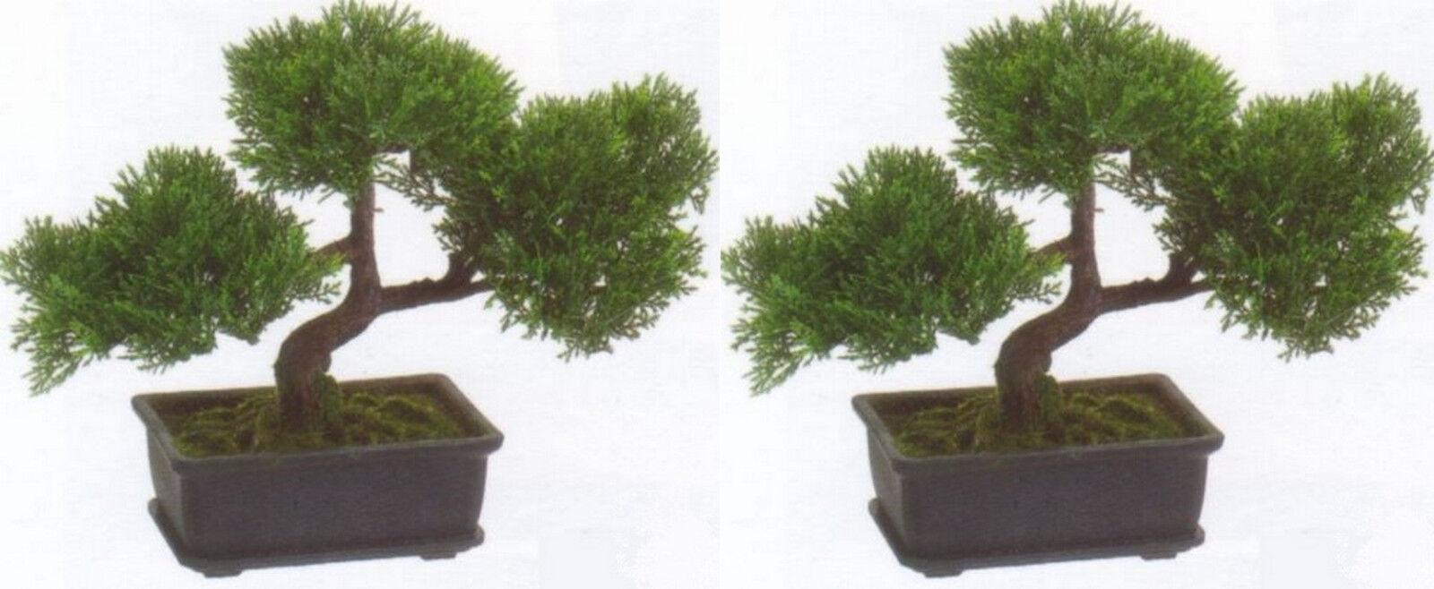 2 ARTIFICIAL 9  CEDAR BONSAI TREE TREE TREE TOPIARY IN OUTDOOR PLANT POOL PATIO HOME DECOR 287626
