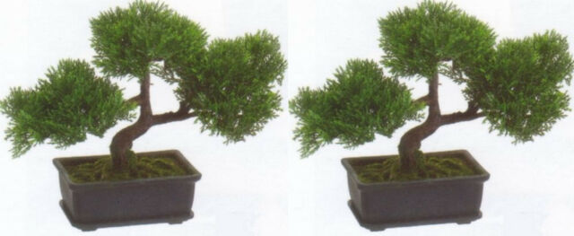 2 Artificial 9 Cedar Bonsai Tree Topiary In Outdoor Plant Pool Patio Home Decor For Sale Online