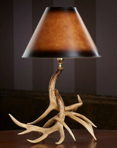 Image Is Loading Whitetail Antler Table Lamp 19x25 Rustic Living Room
