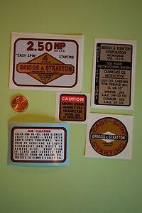 Briggs-amp-Stratton-engine-decals-1960-039-s-edger-2-50hp-Set