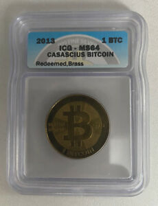 Casascius-Brass-1-Bit-Coin-Peeled-Unfunded-ICG-Graded-MS64-Like-BTCC-Titan