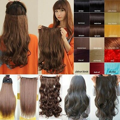 plenty style 17-30 clips in hair extension 3/4 Full Head straight curly wavy WM