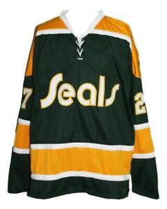 Any Name Number Size California Golden Seals Custom Hockey Jersey Green Meloche