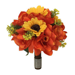 9-034-wedding-bouquet-orange-roses-and-yellow-sunflowers-Artificial-Flowers