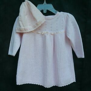 Gymboree Baby Girl 6-12 Months Pink Crochet Sweater Dress With Hat Long Sleeve