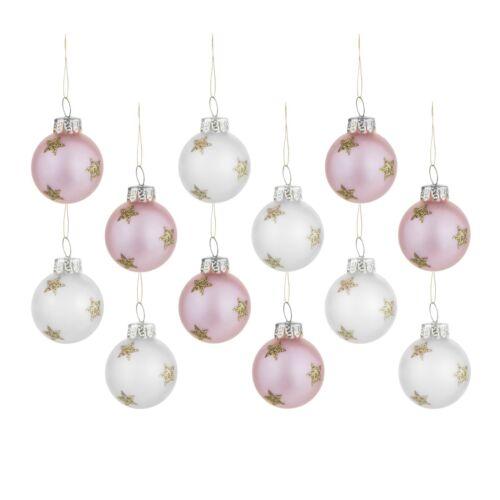Sass /& Belle Pack de 12 rose et or argent étoiles Mini Boules Arbre de Noël