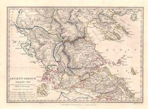 Ancient Greece Map Outline.Ancient Greece Euboea Epirus Aetolia Thessalia Macedonia Sduk 1846