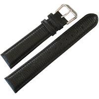 17mm deBeer Mens Black Lizard-Grain Leather Watch Band Strap