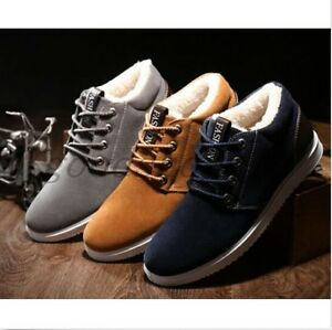 New-Mens-Winter-Thicken-Fleece-Flats-Warm-Shoes-Casual-Lace-Up-Ankle-Boots-SIZE