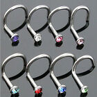10PCS Nose Body Piercing Stainless Steel Jewelry Crystal Stud Screw Ring Rings