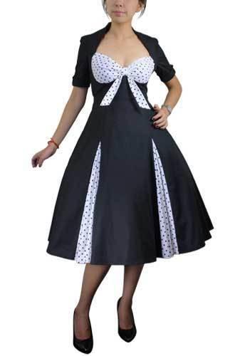Retro Gepunktet Swing Kleid Schwarz Weiß Vintage 50s Jahre Style Pin Up 38490X