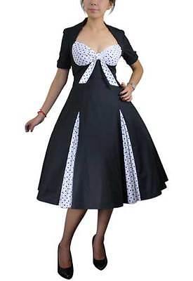 RETRO POLKA DOT SWING DRESS BLACK WHITE VINTAGE  50s STYLE PINUP