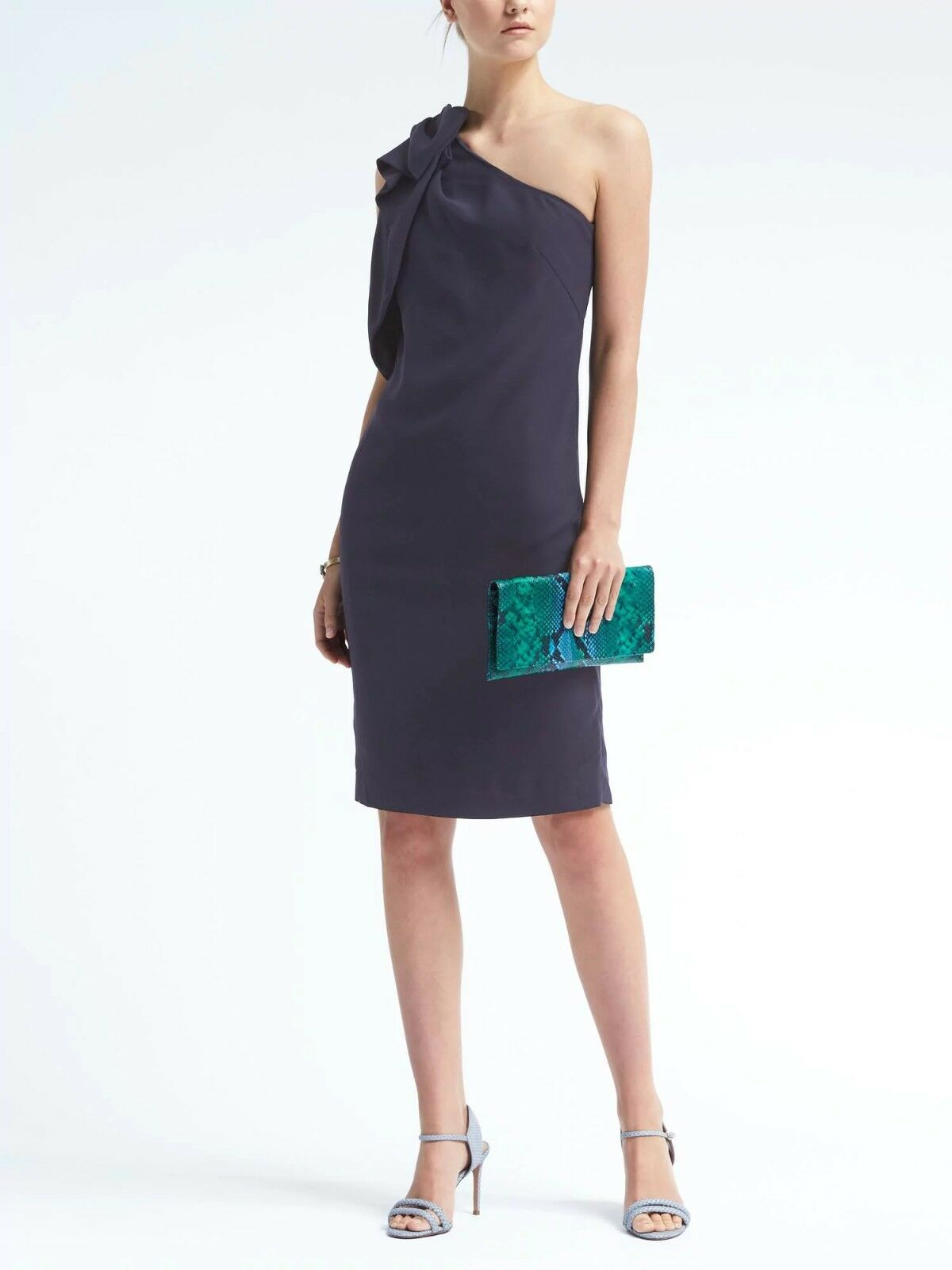 NWT Banana Republic One-Shoulder Bow Dress, Navy Größe 6      v829