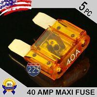 5 Pack 40a Amp Gold Large Blade Style Audio Maxi Fuse Car 12v 24v 32v Auto Rv Us