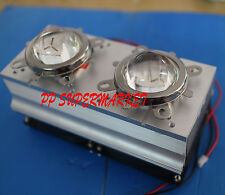 Twin 60-80°44mm Lens+Reflector Bracket+20-100W LED Aluminium Heat Sink Cooling F