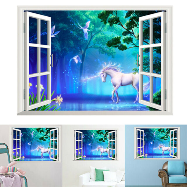 horse magical fantasy unicorn dark 3d window mural wall sticker art