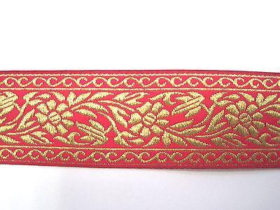 Jacquardborte Ranken Fuchsia Gold BO-J3-1119