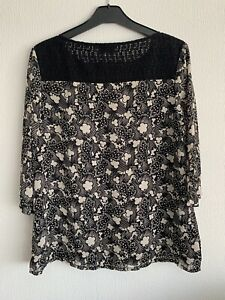 Poem by Oliver Bonas Monochrome Abstract Print Blouse 3/4 Sleeves Lace Size 12