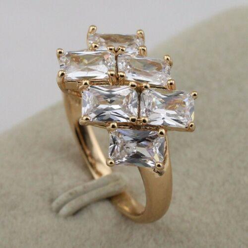 Size 5.5~8.5 Shiny White CZ Fashion Jewelry Gift Yellow Gold Filled Ring rj1970
