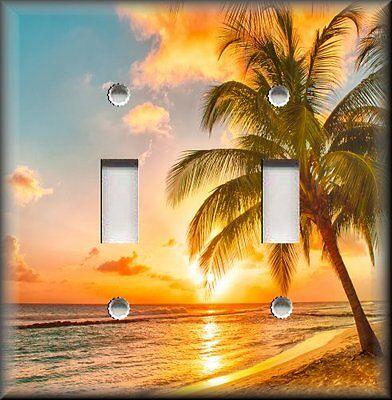 Beach Home Decor - Sunset Beach Palm Trees Decor Light Switch Plate Cover Decor
