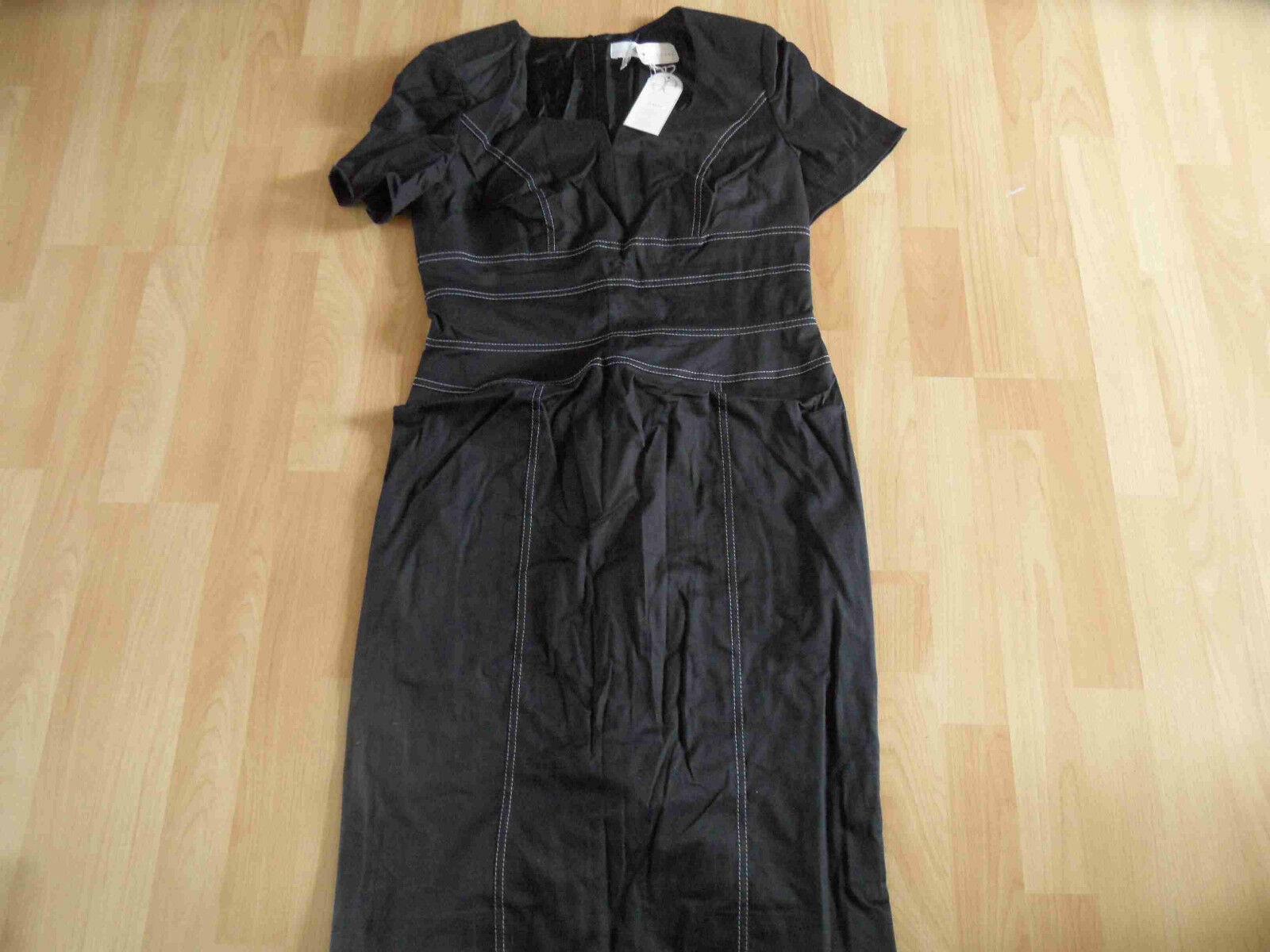 ELEGANCE Paris chices schmales Kleid m. weißen Nähten schwarz Gr. 40 NEU ZC3
