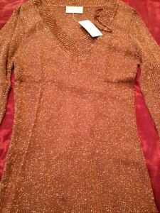 Wallis bronze ribbed jumper (Size 10)