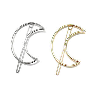 Gold-or-Silver-Fashion-Hair-Clip-Hair-Pins-Moon-Barette-Hairclip-Accessory