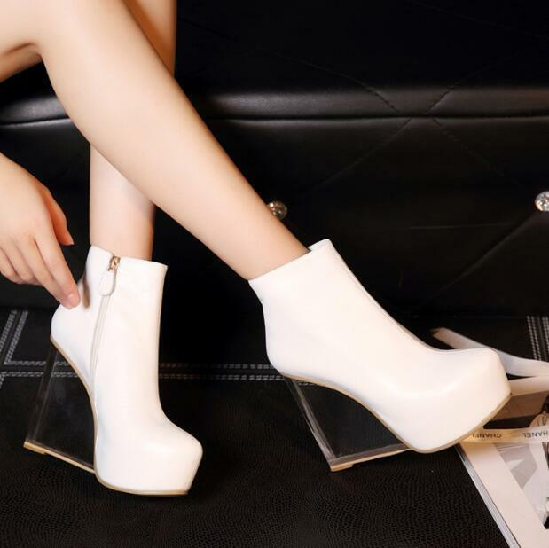 Damenschuhe Platform High High High Wedge Clear Heels Ankle Stiefel Party Clubwear Schuhes Platform 5c53c1
