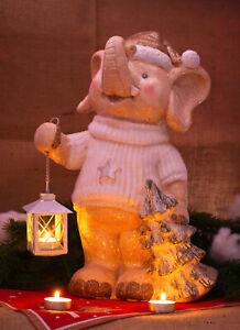 Grande decorazione personaggio ELEFANTE Natale Inverno lumino da tè Set decorazioni NUOVO COOL